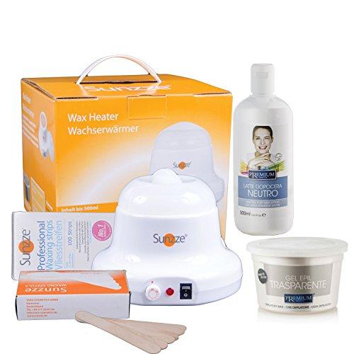 Wax-Set Sunzze Premium zur Enthaarung vom Intim, Achsel, Bein und Gesichtbereich. Mit Sunzze Wachserwärmer, Premium Warmwachs Transparent, Nachbehandlungsemulsiuon, Vliesstreifen und Spatel.