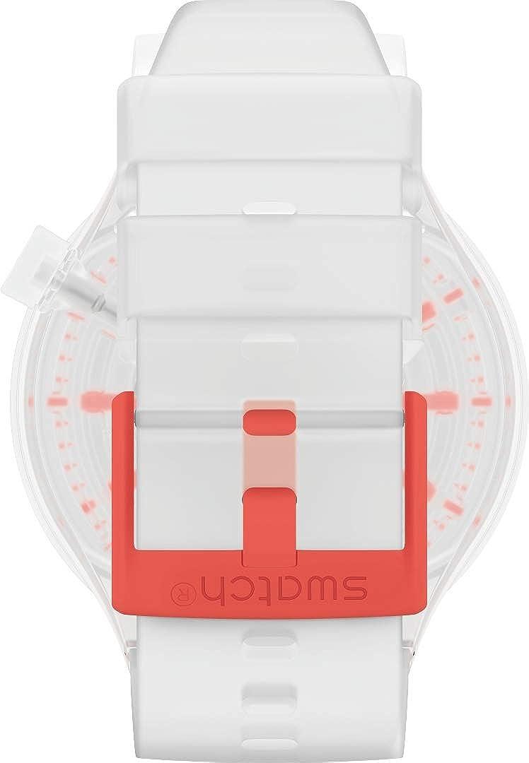 Swatch Swiss Quartz Silicone Strap, Transparent Neon Red