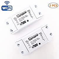 Interruttore senza fili, HEANTTV sonoff switch temporizzatore remoto-controllato da wifi per lampada/ventilatore elettrico/elettrodomestico, interruttore intelligente per casa fai da te da iPhone Android