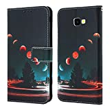EnjoyCase Wallet Case for Galaxy J4 Plus 2018,Colorful Earth Pattern Pu Leather Bookstyle Card Slots Magnetic Flip Cover With Hand Strap for Samsung Galaxy J4 Plus 2018