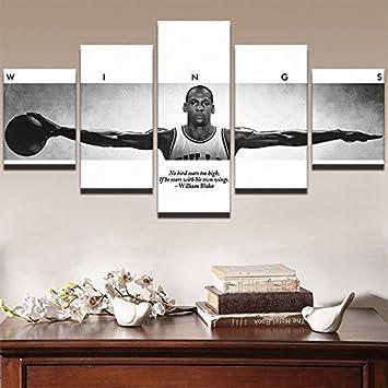Amazon.com: Michael Jordan Wings, Canvas Wall Art Framed 5 Panel ...