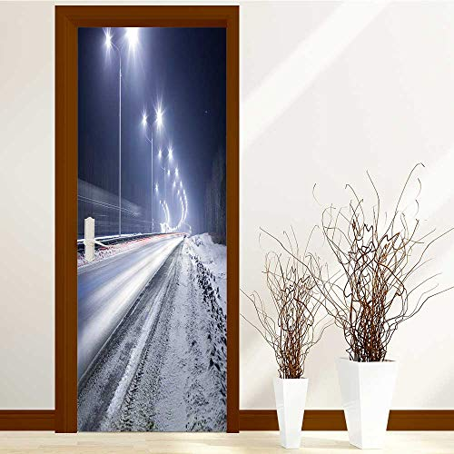 (SCOCICI1588 Door Sticker winter highway at night shined with lamps durable materia W31 x H79 INCH)