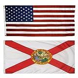 US Flag with Florida State Flag 3 x 5 - 100% American Made - Nylon