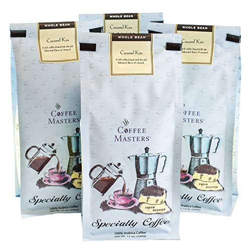 (Coffee Masters Flavored Coffee, Caramel Kiss, Whole Bean, 12-Ounce Bags (Pack of 4)(Packaging may vary))