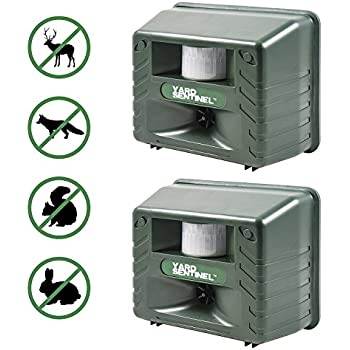 Yard Sentinel 2 Pack - Aspectek - Outdoor Ultrasonic Animal Control Pest Repeller - Includes AC Adapter, Extension Cord