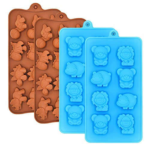 - Chocolate Molds Candy Jelly Mold Silicone - WARM TIME Hard Candy Gummy Molds and Silicone Ice Cube Tray Non-Stick Including Dinosaurs, Bear, Lion and Hippo, FDA Approved Food Grade Silicone Molds