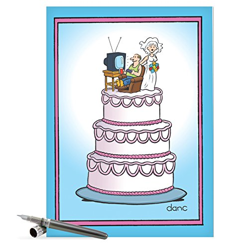 Envelope First Day Cover - Large Funny Anniversary Card - Big Appreciation Gift With Hilarious Cover 'Wedding Cake' With Envelope - Bride w/Flowers & Happy Groom Watching TV - Show your Love! (Extra Large 8.5 x 11 Inch) J3756