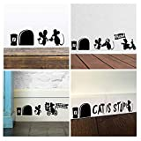 ufengke Mouse Holes Skirting Board Wall Stickers Removable Vinyl Wall Art Decals for Children's Room Living Room Bedroom, Black