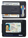 NapaWalli Genuine Leather Magnetic Front Pocket Money Clip Wallet RFID Blocking (Crazy Horse Black)