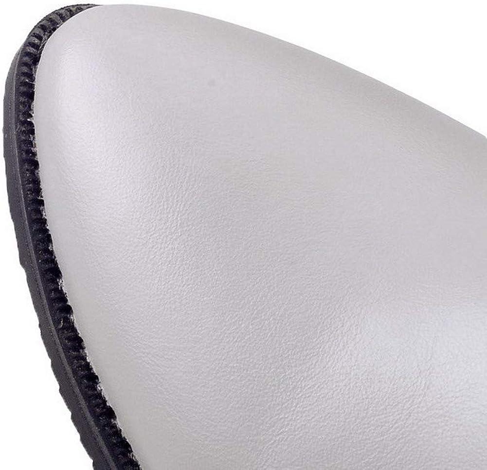 WeenFashion Womens Solid Pu Low-Heels Zipper Closed-Toe Boots AMGXX121540