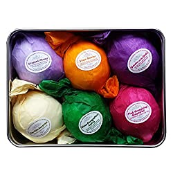 Bath Bombs Gift Set - 6 All Natural Assorted Essential Oil Bath Bombs. Infused with Shea Butter and Cocoa Butter. Enjoy a Luxuriously Moisturizing Fizzy Lush Bath. Perfect Holiday Gift or Beauty Gift for Her! 100% Satisfaction Guaranteed.