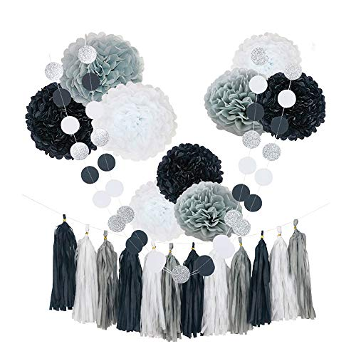 CHOTIKA 23pcs Black White Tissue Paper Flowers Pom Poms Party Decorations Tassel Garland for Wedding Bridal Shower Graduation Graduate School Bachelor Baby Birthday Supplies Decor (Black-White-Grey)