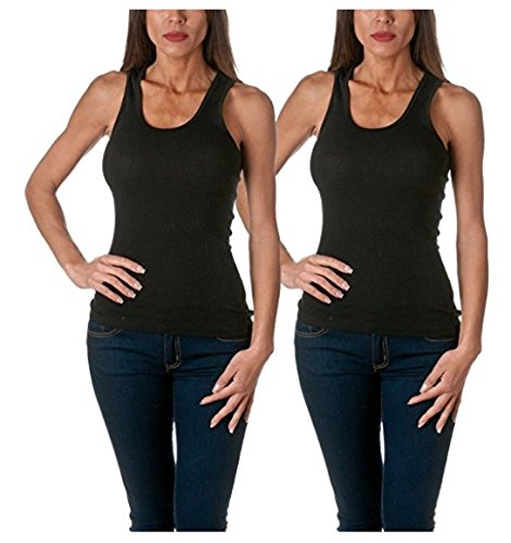 Top Deal (Sofra Women's Tank Top Cotton Ribbed 2 Pack Deal(Black/Black-M))