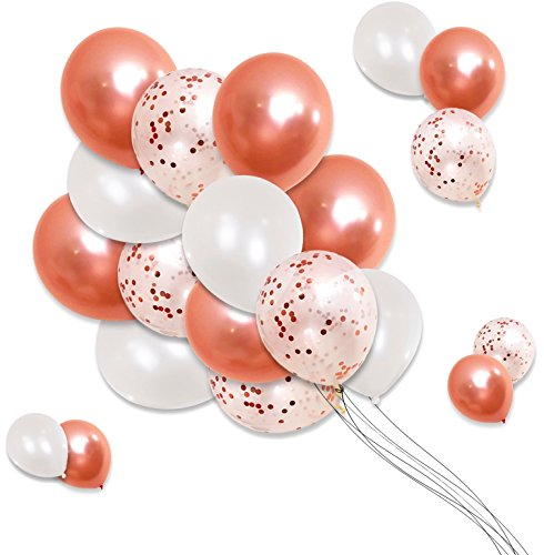 - Rose Gold Wedding Balloons Decoration – Pack of 30, 12 Inch – White, Rose Gold, Confetti – Bachelorette, Bridal Shower Supplies, Birthday Party, Wedding Decorations, Valentines Day– by Pure_Simplicity