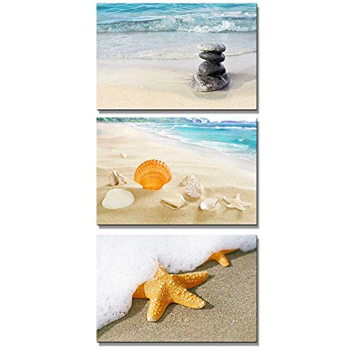 Beach Scenery with Sea Shell Starfish and Zen Stones Wall Decor ation x 3 Panels