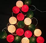 Christmas Party Supplies 2.5M 20 LED Red Green White Cotton Balls String Lights Battery Operated LED Garland Outdoor Garden Wedding Party Kids Room Decoration Lights