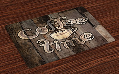 (Ambesonne Modern Place Mats Set of 4, Coffee Time Phrase with a Cup on a Wooden Grunge Background Kitchen Image, Washable Fabric Placemats for Dining Room Kitchen Table Decor, Umber Cocoa)