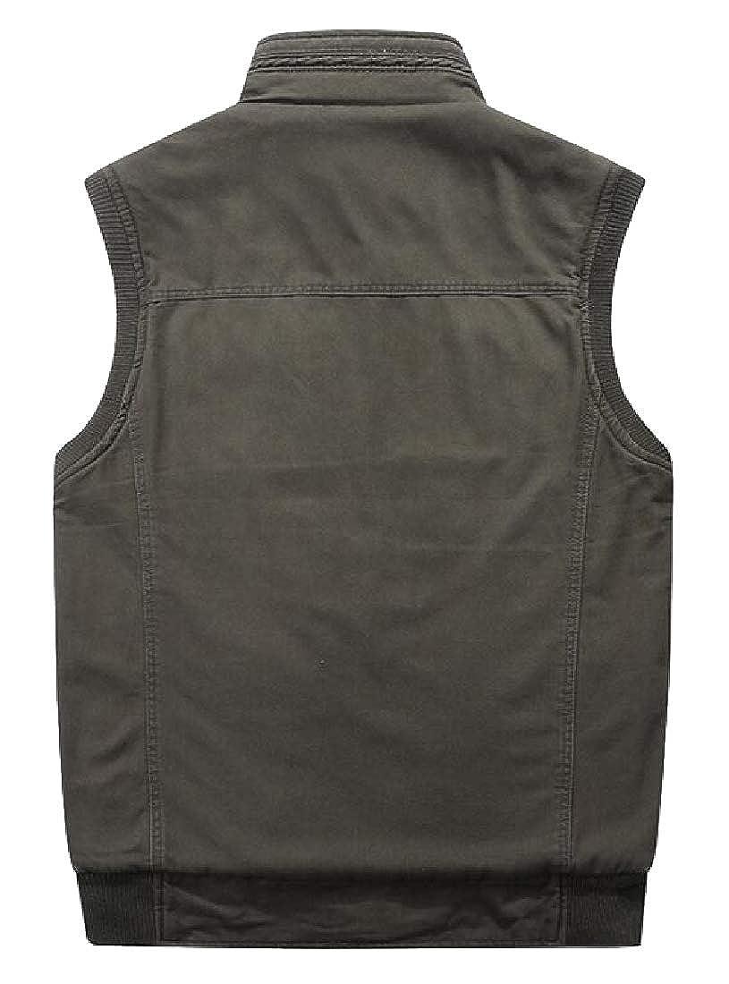 Générique Gilet réversible en Coton pour Homme avec Poches Multiples et Fermeture Éclair intégrale Armygreen