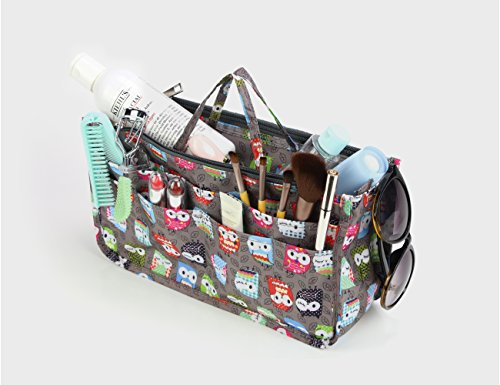 Cosmetic Bag for Women Cute Printing 14 Pockets Expandable Makeup Organizer Purse with Handles (Owl) by MICOM (Image #4)