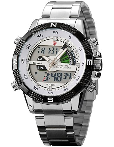 Steel Porbeagle Shark Men's Army Sport Wrist Watch Analog Digital Lcd Chronograph - Lcd Shark