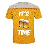 Allywit-Mens 3D Beer Printed Short-Sleeved T-Shirt Top Blouse Yellow