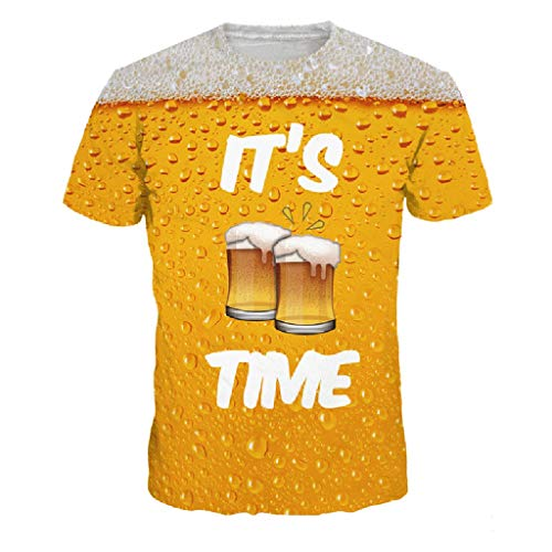Willow S Men's Color Matching 3D Simple Flood Beer Cup Printed Short-Sleeved O-Neck T-Shirt Top Blouse Yellow ()