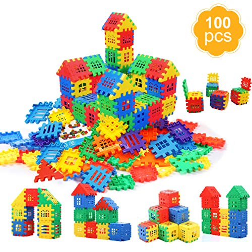 - MICHLEY Building Blocks, Classic Construction Toy for Kids, 100 pcs Builder Bricks Preschool Building Sets for Children