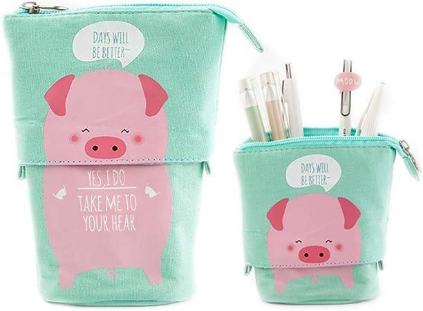 Estuche retráctil de dibujos animados para lápices verticales Animal lindo papelería (Pink Pig): Amazon.es: Oficina y papelería