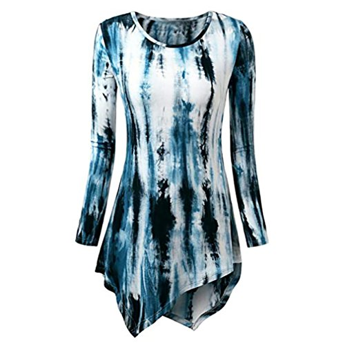 - Wintialy Women Fashion O-Neck Print Long Sleeve Loose Tops T-Shirt Blouse Dark Blue