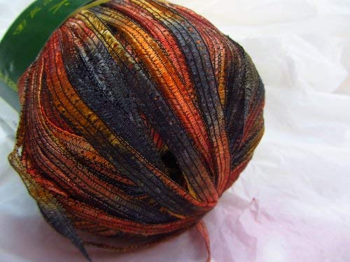 (Knitting Fever Giglio Airy Variegated Ribbon Yarn Color #56 Orange, Red, Brown)