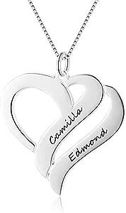 Gaosh Collar de mujer grabado personalizado con 2 nombres de cadena de plata de ley 925 BFF Colgante en forma de corazón Collares de amistad para aniversario