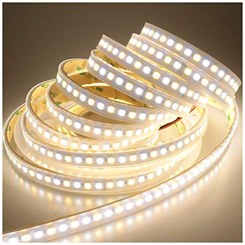 LEDENET Super Bright 2800K-7000K Bi-color Dual White Flexible 5050 LED Strip Warm Cold Combo Color Temperature Adjustable DC 24V 600LEDs Ribbon Lamp 16.4ft in silicone sleeving Outdoor Lighting