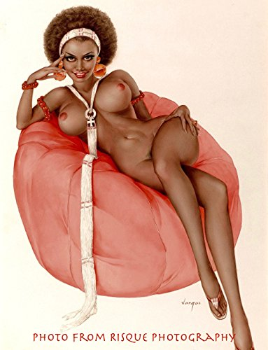 "Nude Black Woman Sitting on Bean Bag 8.5x11"" Photo Print, Erotic Pin-up Art by Alberto Vargas"