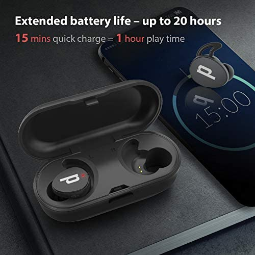 Paplio Dash True Wireless Extra Bass Earbuds, Bluetooth 5.0 Headphones, 20 Hrs Long Battery, Noise Isolating, Microphone, IPX5 Waterproof TWS Stereo Earphones for Workout, Gym, Sport, and Running