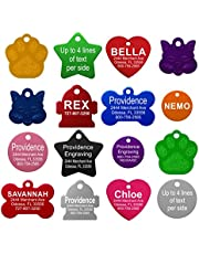 Pet ID Tags - 8 Lines of Engraving Available   Size Small or Large   Bone, Round, Star, Heart, Hydrant, Paw, Cat Face   9 Colors   Dog Tag, Cat Tag, Personalized, Anodized Aluminum