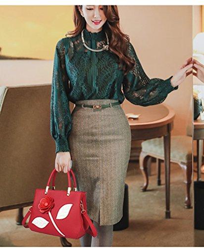 Elegante ZKOO Vino Bolsas Mujeres Hombro Cuero Rose Bolso Bolsas Rojo Tote Del de De PU Mano 6f8q6rwgx