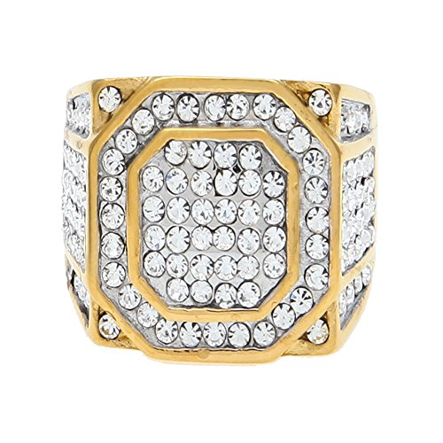 HongBoom Hot Hip Hop Rings 18K Gold Plated CZ CRYSTAL Fully Iced-Out Shine Ring (Gold/US size 10)