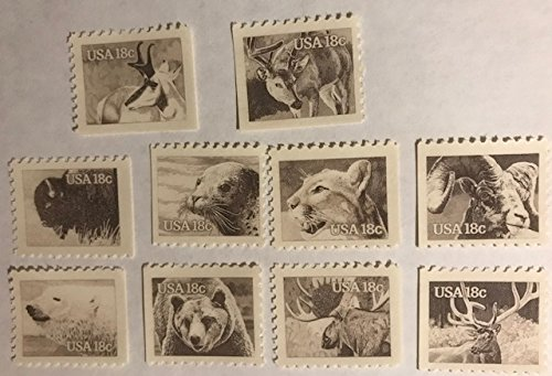 Us Stamps Booklet Pane - AMERICAN WILDLIFE ~ BIGHORNED SHEEP ~ PUMA ~ HARBOR SEAL ~ BISON ~ BROWN BEAR ~ POLAR BEAR ~ ELK ~ MOOSE ~ WHITE-TAILED DEER ~ PRONGHORNED ANTELOPE #1880-89 Booklet Pane of 10 x 18¢ US Postage Stamps