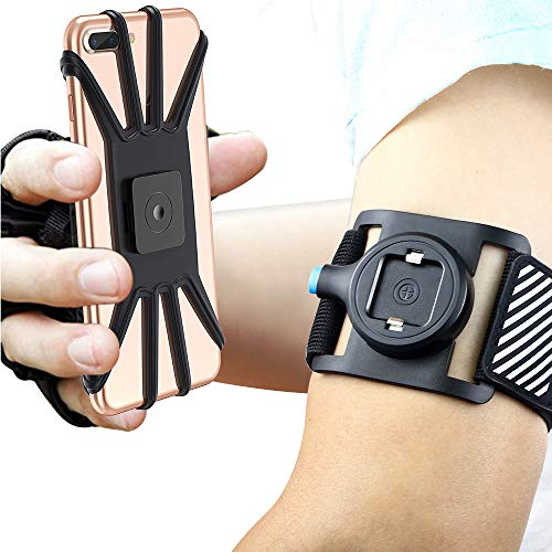 Quick Mount Phone Armband for iPhone Xs Max/XS/XR/X/8 plus/8/7/7 Plus/6, Samsung Galaxy S10 Plus/S10/S10e/Note 9/Note 8, Detachable Workout Sports Arm Band, Phone Holder for Running Hiking (Black)