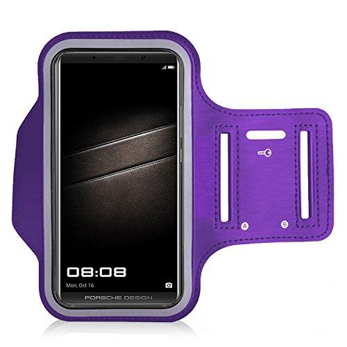 iPro Zubehör ® Huawei P20Lite Armband–Sport Running Fitness Gym Sportband Tasche mit Schlüsselhalter & Kartenschlitz, wasserabweisend violett