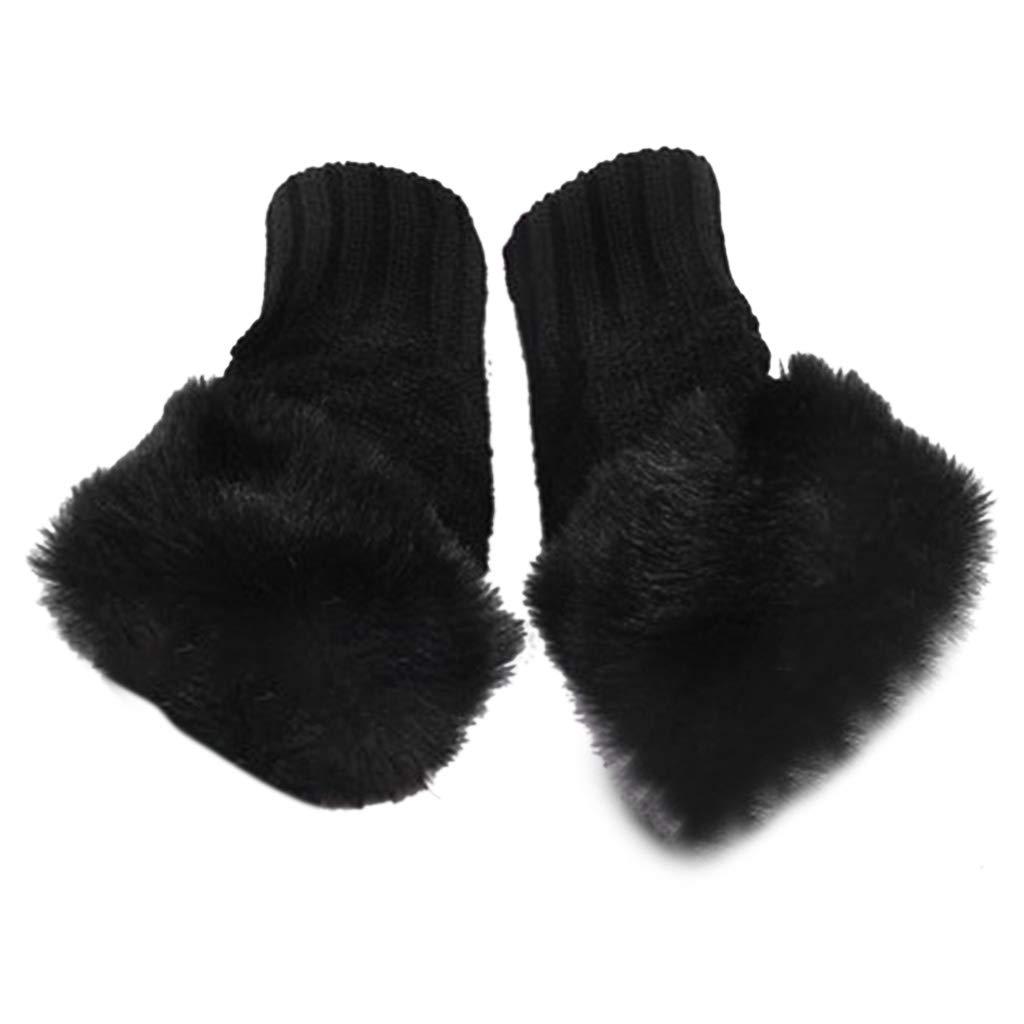 Junlinto, Womens Faux Fur Hand Wrist Warmer Winter Guanti senza dita in maglia Mitten Solid-BLACK