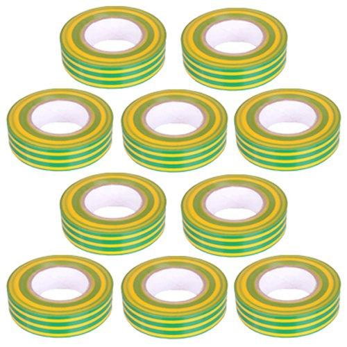 10 St/ück PVC Isolierband Klebeband 10 Meter lang 15 mm breit gelb//gr/ün