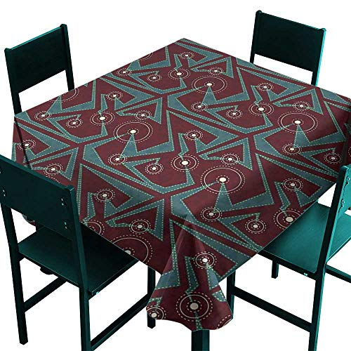 Warmer Tribal Oil Elephant - Warm Family Retro Oil-Proof and Leak-Proof tableclothAbstract Tribal Pattern with Geometric Details Dashed Lines and Circles Indoor Outdoor Camping Picnic D71