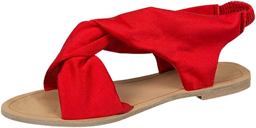 Amazon Com Sandalia Plana Para Mujer Reyo Clearance Verano Casual Peep Toe Playa Sandalias Planas Zapatillas Gladiadores 7 Rojo Toys Games