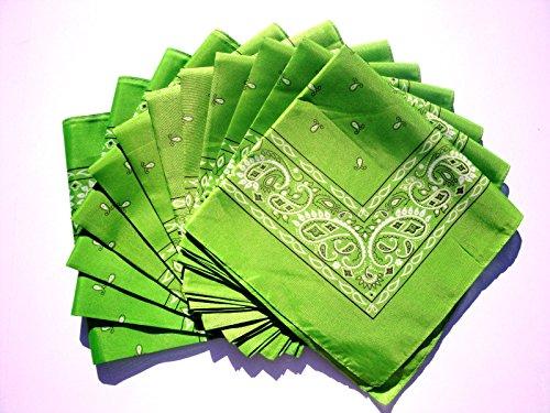 Lime Green Bandana 12 Pieces Paisley Wholesale Lot