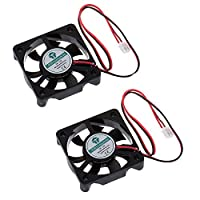 Anmbest 2PCS 5010 Silent Brushless Cooling Fan 2 pin Brushless 5CM Fans DC 12V 0.1A 50mm X 50mm X 10mm for Cool 3D Printers Parts PC Case CPU Cooler Sleeve Bearing 7 Blades from Anmbest