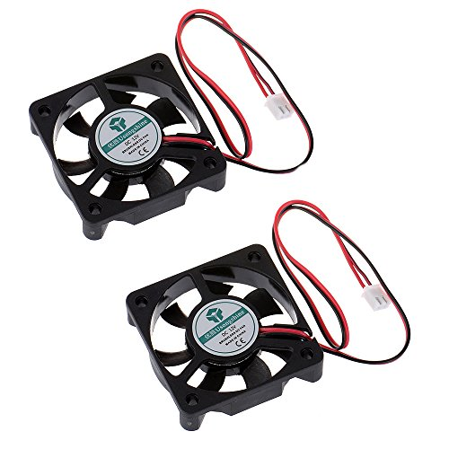 Anmbest 2PCS 5010 Silent Brushless Cooling Fan 2 pin Brushless 5CM Fans DC 12V 0.1A 50mm X 50mm X 10mm for Cool 3D Printers Parts PC Case CPU Cooler Sleeve Bearing 7 Blades ()