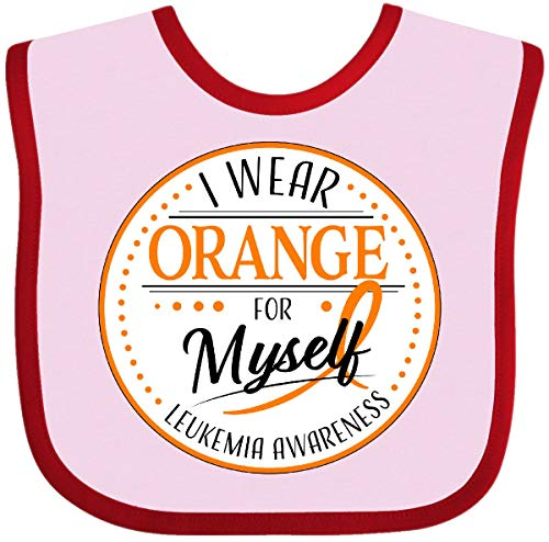 Inktastic I Wear Orange for Myself- Leukemia Awareness Baby Bib Pink and Red