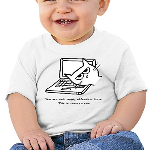 Mostico Nachill Angry Cat Demands Attention Unisex Infants Cotton T-Shirts Clothing White -