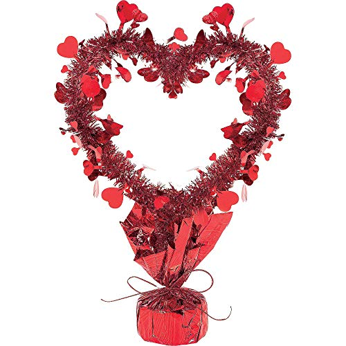 Valentine Red Tinsel Heart Centerpiece | Party